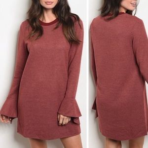 Burgundy Crew Neck Bell Sleeve Dress S